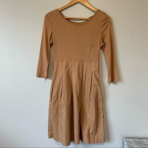 COS earthy tone fit and flare cotton dress XS size